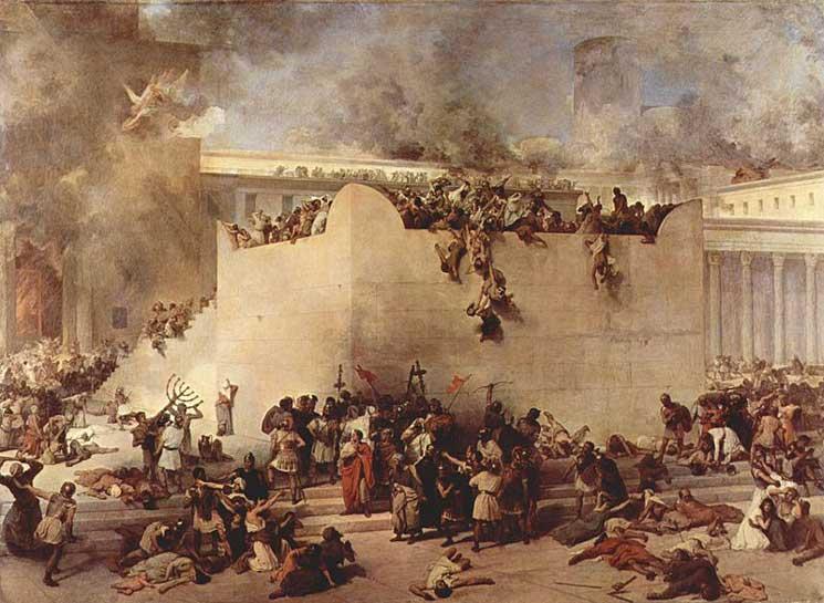 A jeruzsálemi templom lerombolása, Francesco Hayez festményén a templom oltára látható az előtérben