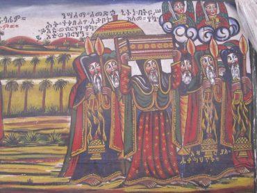 Ezen az Addis-Abebában található festvémeny I. Menelik Etiópiába viszi a szövetség ládáját.